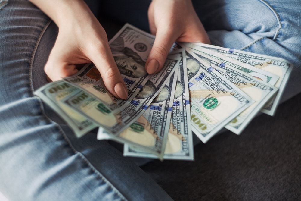 fan of 100 U.S. dollar banknotes